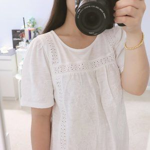 LUCKY BRAND Eyelet Lace Puff Sleeve White Tee S